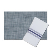 Bistro White Polyester Napkin with Navy Blue Stripes, with matching London Indigo Vinyl Placemat, Set of 4