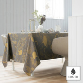 """Mille Feuilles Bronze Tablecloth 69""""x98"""", Coated"""