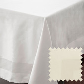 Satin Band Ivory Cotton Tablecloth Square 63x63