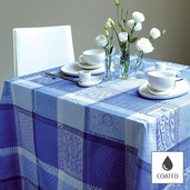 """Mille Wax Ocean Tablecloth 69""""x98"""", Coated Cotton"""