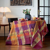 "Mille Tingari Terre Rouge Tablecloth 71""x98"", 100% Cotton"