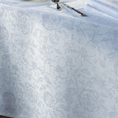 "Mille Charmes Blanc Tablecloth 71""x71"", 100% Cotton"