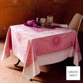 """Eugenie Candy Tablecloth 69""""x143"""", Green Sweet"""