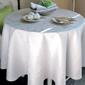 "Mille Charmes Nacre Tablecloth Round 71"", 100% Cotton"