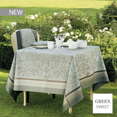 """Persephone Olive Tablecloth 69""""x69"""", Green Sweet"""