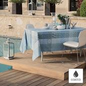 "Mille Tiles Bleu Lagon Tablecloth Round 69"" round, Coated"