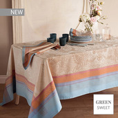 """Isaphire Iridescent Tablecloth 69""""x143"""", Green Sweet"""