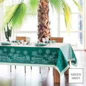 "Serres Royales Vert Empire Tablecloth 69""x120"", Green Sweet"