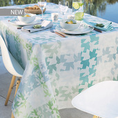 "Mille Hirondelles Menthol Tablecloth 61""x89"", 100% Cotton"