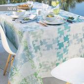 """Mille Hirondelles Menthol Tablecloth 61""""x89"""", 100% Cotton"""