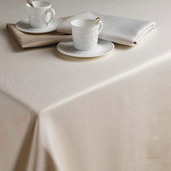 "Plain Satin Cottonrich Canaveral Sand Tablecloth Round 98"" Rnd"