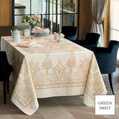 "Eleonore Dore Tablecloth 69""x143"", Green Sweet"