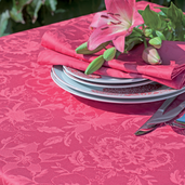 "Mille Charmes Raspberry Tablecloth 71""x118"", Cotton"