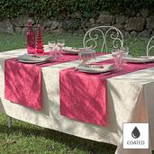 "Mille Charmes Ecru De Blanc Tablecloth Round 69"", Coated Cotton"