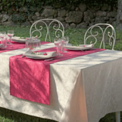 "Mille Charmes Ecru De Blanc Tablecloth 69"" Round Coated"