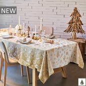 """Mille Merry Gold Tablecloth 59""""x87"""", Coated Cotton"""