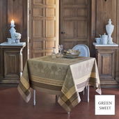 "Fontainebleau Tilleul Tablecloth 69""x69"", Green Sweet"