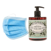 50 Disposable 3 layers masks + 3 bottles of Precious Jasmine French Hand Soap.