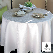 """Mille Charmes Nacre Tablecloth Round 69"""", Coated Cotton"""