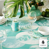 "Mille Verdoyant Turquoise Tablecloth 69"" Round, Coated"