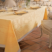 "Soubise Jaune D Or Tablecloth 68""x143"" GS Stain Resistant"