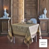 "Fontainebleau Tilleul Tablecloth 69""x143"", Green Sweet"