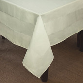 Satin Band Ivory Cotton Tablecloth Square 90x90