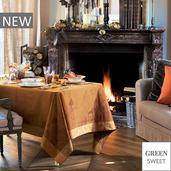 "Chateau de Cartes Ocre Tablecloth 71""x71"", Green Sweet"