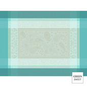"""Pondichery Lagon 21""""x15"""" Placemat, Green Sweet Stain-Resistant cotton - Set of 4"""