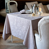 """Mille Charmes Taupe Tablecloth 71""""x98"""", 100% Cotton"""