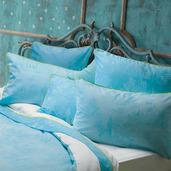 Bon Voyage Turquoise Pillow Case, Euro, Cotton-2ea