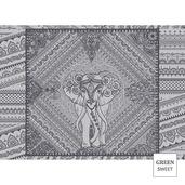 """Jodhpur Uni Noir 22""""x16"""" Placemat, Green Sweet Stain-Resistant cotton - Set of 4"""