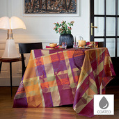 "Mille Tingari Terre Rouge Tablecloth 69""x69"", Coated Cotton"