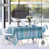 """Mille Dentelles Turquoise Tablecloth 69""""x69"""", Coated Cotton"""