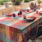 """Mille Tiles Multicoloured Tablecloth Round 71"""", Cotton"""