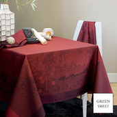 """Paysage Scarlet Tablecloth 69""""x100"""", GS Stain Resistant"""