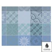 Mille Tiles Bleu Lagon Placemat, Coated-4ea