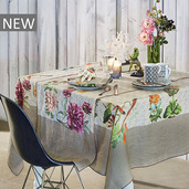 "Gaia Floralies Tablecloth 61""x61"", 100% Linen"