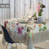 "Gaia Floralies Tablecloth 61""x61"", 100% Linen"