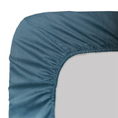 """Ava Blue Petrol Fitted Sheet 78""""x79"""", 100% Cotton"""