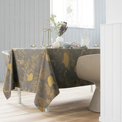"Mille Feuilles Bronze Tablecloth 71""x71"", Cotton"