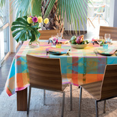 """Mille Tingari Austral Tablecloth Round 69"""", Coated Cotton"""