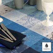 "Mille Couleurs Blue Petrol Tablecloth 69"" Round, Coated"