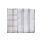 Natural Checker Stripe Kitchen Towels -SET of 2ea