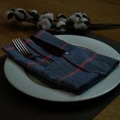 """Quadramuri Navy/Red Herringbone Checked Napkin 22""""x23"""", 100% Cotton"""