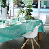 "Mille Verdoyant Turquoise Tablecloth 71"" Round, Cotton"