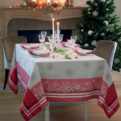 """Tablecloth Rectangle Snowflakes Red 69""""x120"""", GS Stain Resistant - 1ea"""