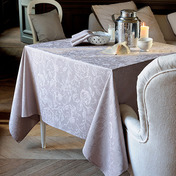 """Mille Charmes Taupe Tablecloth 71""""x71"""", 100% Cotton"""