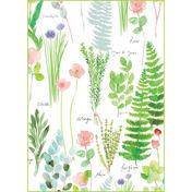 "Mille Herbier Printemps Kitchen Towel 20""x28"", 100% Cotton"