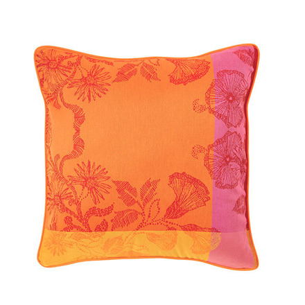 "Cushion Cover Mille Fiori Feuillage 16""x16"", Cotton - 2ea picture"
